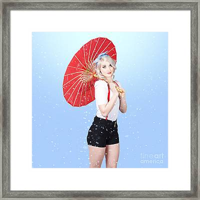 Beautiful Woman Standing Outdoor In Spring Rain Framed Print by Jorgo Photography - Wall Art Gallery
