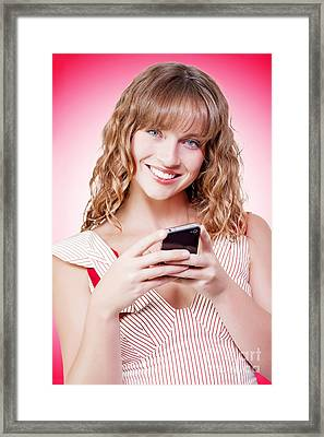 Beautiful Woman Texting On Her Cellphone Framed Print by Jorgo Photography - Wall Art Gallery