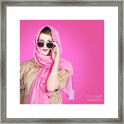 Beautiful Woman Wearing Pink Headscarf Fashion Framed Print by Jorgo Photography - Wall Art Gallery