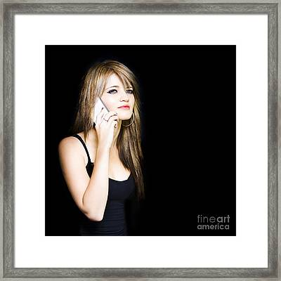 Beautiful Young Woman Communicating On Cell Phone Framed Print by Jorgo Photography - Wall Art Gallery