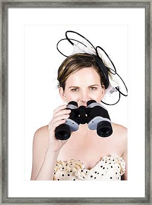 Beautiful Young Woman With Binoculars Framed Print by Jorgo Photography - Wall Art Gallery