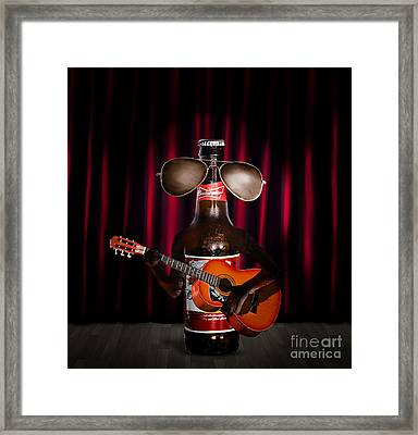 Beer Bottle Music Performer Playing Opening Act Framed Print by Jorgo Photography - Wall Art Gallery