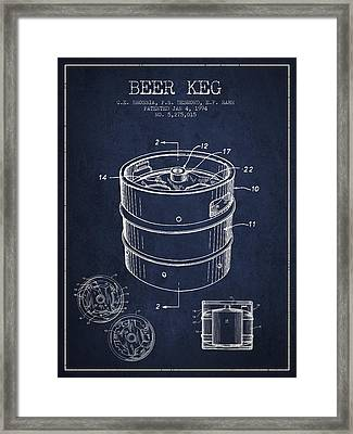 Beer Keg Patent Drawing - Green Framed Print by Aged Pixel