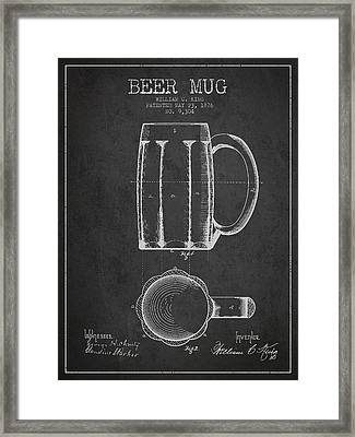 Beer Mug Patent From 1876 - Dark Framed Print by Aged Pixel