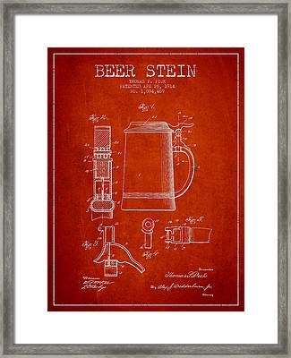 Beer Stein Patent From 1914 - Red Framed Print by Aged Pixel