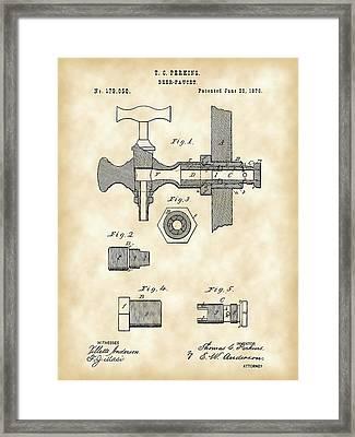 Beer Tap Patent 1876 - Vintage Framed Print by Stephen Younts