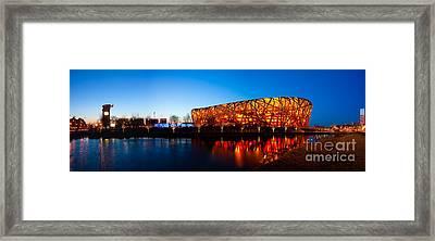 Beijing National Stadium By Night  The Bird's Nest Framed Print by Fototrav Print