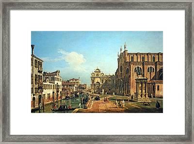 Bellotto's The Campo Di Ss. Giovanni E Paolo In Venice Framed Print by Cora Wandel