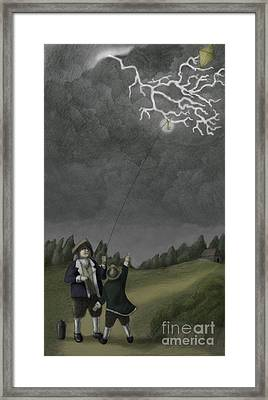 Ben Franklin Kite And Key Experiment Framed Print by Spencer Sutton