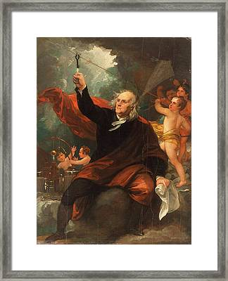 Benjamin Franklin Drawing Electricity From The Sky Framed Print by Celestial Images