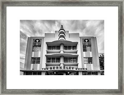 Berkeley Shores Hotel  2 - South Beach - Miami - Florida - Black And White Framed Print by Ian Monk
