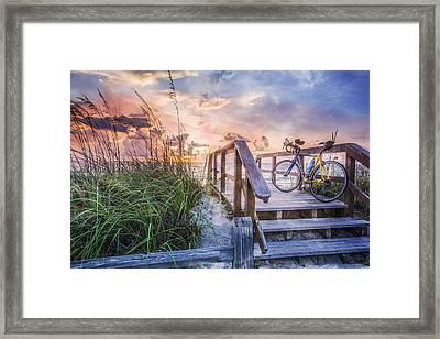 Bicycle At The Beach Framed Print by Debra and Dave Vanderlaan
