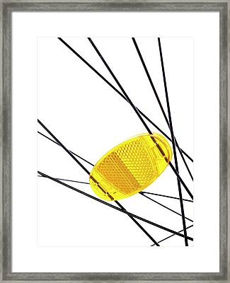 Bicycle Wheel Reflector Framed Print by Science Photo Library