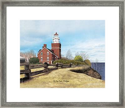 Big Bay Point Lighthouse Titled Framed Print by Darren Kopecky