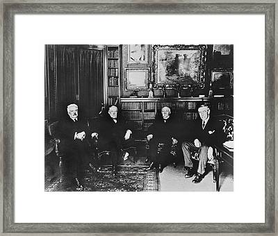 Big Four At Versailles Framed Print by Underwood Archives
