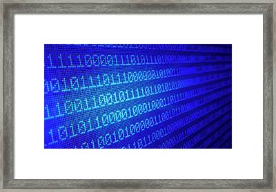 Binary Code Framed Print by Andrzej Wojcicki
