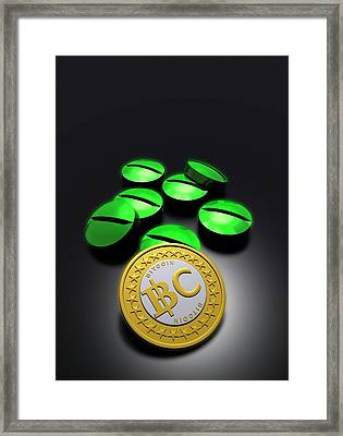 Bitcoin And Medicine Framed Print by Victor Habbick Visions