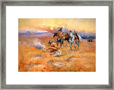 Blackfeet Burning Crow Buffalo Range Framed Print by Charles Russell