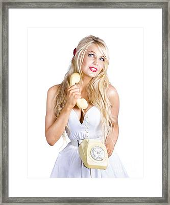 Blond Lady On Old-fashion Telephone Communication Framed Print by Jorgo Photography - Wall Art Gallery