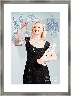 Blond Woman Drawing A Travel Landmark Illustration Framed Print by Jorgo Photography - Wall Art Gallery
