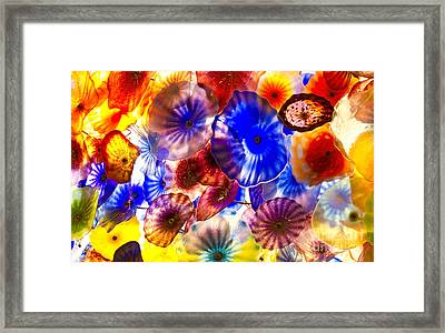 Blown Glass Flowers And Umbrellas In Varied Colors Framed Print by ELITE IMAGE photography By Chad McDermott