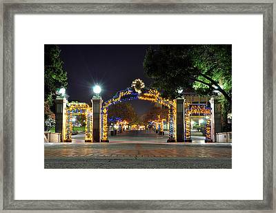 Blue And Gold Sather Gate Framed Print by Joel Thai