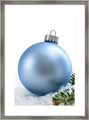 Blue Christmas Bauble Framed Print by Elena Elisseeva