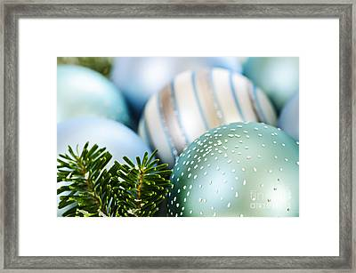 Blue Christmas Ornaments Framed Print by Elena Elisseeva