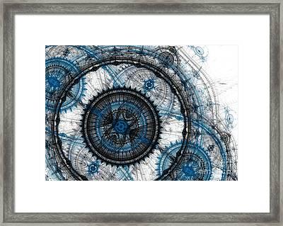 Blue Clockwork Framed Print by Martin Capek