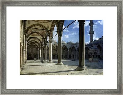 Blue Mosque Courtyard Framed Print by Joan Carroll