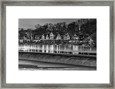 Boathouse Row Bw Framed Print by Susan Candelario