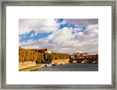 Boats At Quai De La Daurade, Toulouse Framed Print by Panoramic Images