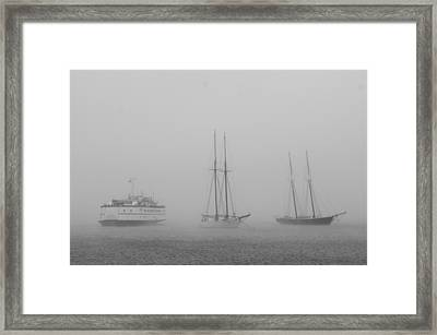 Boats In Fog Framed Print by Steve Myrick