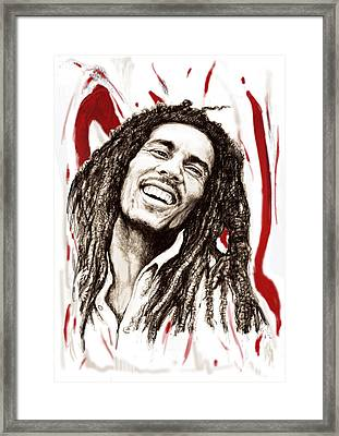 Bob Marley Colour Drawing Art Poster Framed Print by Kim Wang