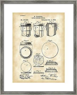 Bottle Cap Patent 1892 - Vintage Framed Print by Stephen Younts