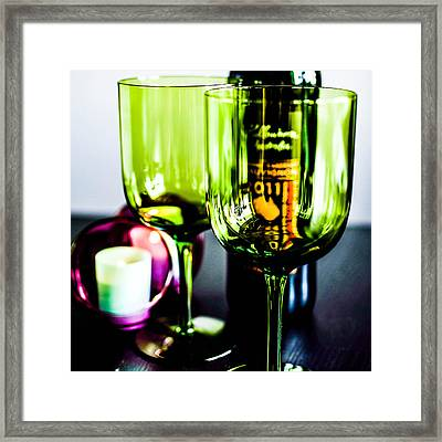 Bottle Glass And Grapes In Delightful Mix Framed Print by Toppart Sweden