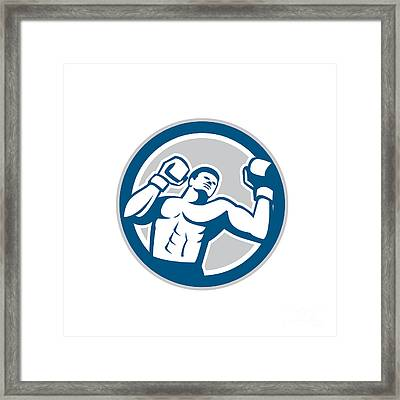 Boxer Boxing Boxing Circle Retro Framed Print by Aloysius Patrimonio