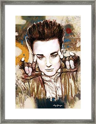 Boy George Stylised Drawing Art Poster Framed Print by Kim Wang