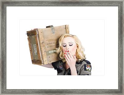 Brave Army Girl Holding Explosive Small Arms Framed Print by Jorgo Photography - Wall Art Gallery