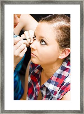Bride Getting Eye Liner Makeup Applied Framed Print by Jorgo Photography - Wall Art Gallery