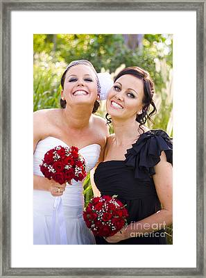 Bride With Maid-of-honor Framed Print by Jorgo Photography - Wall Art Gallery