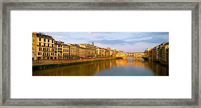 Bridge Across A River, Ponte Vecchio Framed Print by Panoramic Images