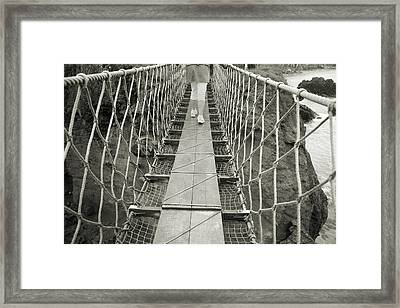 Bridge Walk Carrick-a-rede Northern Ireland Framed Print by Betsy Knapp