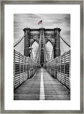 Brooklyn Bridge Framed Print by John Farnan