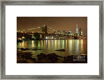 Brooklyn Bridge Skyline Framed Print by Mark Ayzenberg