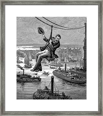 Brooklyn Suspension Bridge Framed Print by Universal History Archive/uig