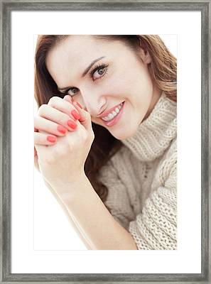 Brunette Woman Smiling Framed Print by Ian Hooton