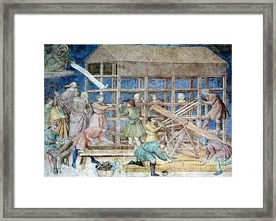 Building Noahs Ark, 14th Century Fresco Framed Print by Sheila Terry