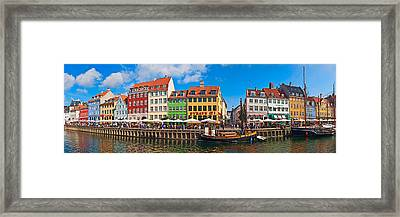 Buildings Along A Canal With Boats Framed Print by Panoramic Images