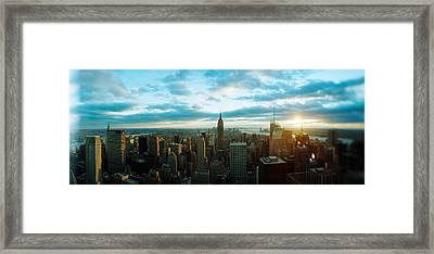 Buildings In A City, Empire State Framed Print by Panoramic Images